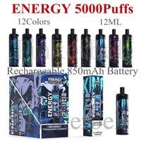 Energia 5000Puffs Ricaricabile Vape monouso VAPE E Sigaretta 850Mah Batteria 12 colori Mesh Bobina Pre-riempita 12ml Cartridge Bang XXL Duo Aokit Nano Randm Tornado