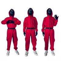 Full Face Korean Tv soldier Party Halloween Costumes Red Jumpsuits Squid Game set