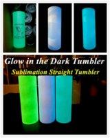 USA Stock DIY Sublimation Tumbler Glühen im dunklen Tumbler 20oz geradliniger Tumbler mit leuchtender Farbe Leuchtbecher Magic Travel Cup 4964