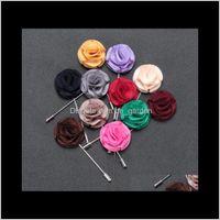 핀, 보석 드롭 배달 2021 12 색 우아한 옷깃 꽃 수제 Sillk Boutonniere 스틱 남자 여성 파티 드레스 브로치 핀 패션
