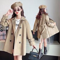 Coat Girls Long Windbreaker 2021 Autumn Design British Style Brown Trench Kids For Girl Outwear Clothing