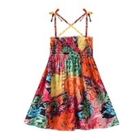 Girl's Dresses Strappy Summer Dress Toddler Baby Kid Girls Floral Flowers Ruched Strap Princess Clothes Vestidos#45