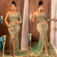 Aso Ebi 2021 Luxury Crystals Beaded Formal Evening Dresses Sexy See Through Fake One Shoulder Arabic Dubai Mermaid Special Occasion Gowns Sheer Pageant Prom Dress
