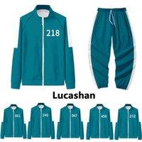 Squid Game Costume 456 218 001 212 240 Green Jacket Pants Sweatshirt Basketball Uniform School Halloween Cosplay