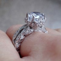 Vintage Engagement Wedding Band Ring Set for Women 3ct Simulated Diamond Cz 925 Sterling Silver Female Party Ring