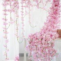 """70 """"/ 1.8m Sztuczne wiśniowe kwiaty wiszące winorośli jedwabne kwiaty Garland Fałszywe rośliny Liść Do Home Wedding Decor 100 sztuk / partia Dekoracyjne Walki"""