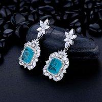 Flower Earrings Gemstone Earrings Luxury Genuine 925 Silver Paraiba Tourmaline Fine Women Jewelry 9*11mm S925 Drop Wedding Party Quality Latest Style Original