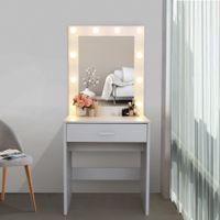 Waco Vanity Ayna ile Set, Yatak Odası Mobilya Makyaj Soyunma Masa Dresser Masası Büyük Çekmece, Beyaz, Sıcak Işık