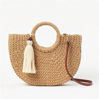 Evening Bags Fashion Womens Straw Hand-woven Messenger Bohemian Shoulder Bag 2021 Summer Moon Shape Seaside Resort Women Tote