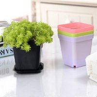 Mini Flower Pots With Chassis Colorful Plastic Nursery Pot Flowers Planter For Gerden Decoration Home Office Desk Planting GWB6059