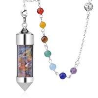 Pingente de pedra natural para colares bullet pendulum tigre olho jade colar malaquita rosa quartzo cura cristal