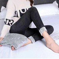Women's Jeans Plush High Waist Large Size Slim Warm Cotton Pants Winter Thicken Cashmere Pencil