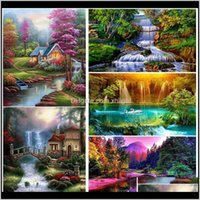Paintings Arts, Crafts Gifts & Garden Drop Delivery 2021 Diy 5D Painting Waterfall Diamond Embroidery Full Square Round Mosaic Rhinestones La