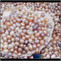 Yüksek Kalite 67mm Oval Tohum Boncuk 3 Renkler Beyaz Pembe Mor Gevşek Tatlısu Takı Yapımı Malzemeleri Için M0ZVG Pearl Hyhno