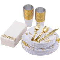 Disposable Dinnerware 70 Pcs Tableware Marble Plastic Dinner Plate Golden Cutlery Spoon Cup Napkin Set Wedding Birthday Party Supplies
