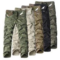 2021men fret tactique en plein air pantalon droite résistant résistant à l'usure Couleur solide Casual Multi-poche Pantalon de coton pur pour hommes