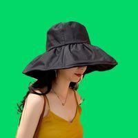 Koreli kadın Japon Dayan Balıkçının Güneş Kremi Şapka Seyahat Güneşlik Şapka Yaz Siyah Kauçuk COV
