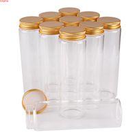 12 Piezas 200 ml 47 * 150 mm Botellas de vidrio con tapas de aluminio de oro Píldora de la píldora de la píldora de la píldora de caramelo frascos viales para bodas regalos