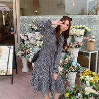 Casual Dresses COIGARSAM Chiffon Women Dress Spring Floral Print Black 7621