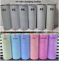 sublimation tumbler UV color changing tumbler glow in the sun straight tumblers Stainless Steel cup double wall with lids and straw 496