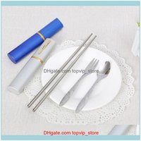 Gadgets And Camping Hiking Sports & Outdoorswholesale- Portable Outdoor Stainless Steel Travel Dinner 3In1 Set Fork Spoon Chopstick Drop Del