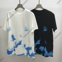 21ss spring summer Mens t-shirt Designer luxury t shirt Watercolor gradient print t shirts cotton casual classical letter pintting tshirt tops tee