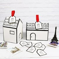 Small House Paper Packing Box with Tag & Ribbon Nougat Cookies Candy Box Wedding Gift Party Favor Packaging