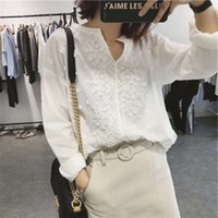 Lizhiqi Japanese Korean casual spring and summer women's wear V-neck Embroidery Flower loose size long sleeve white shirt