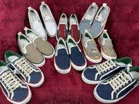 Designer tênis 1977 Imprimir Slip-On Sapatos Casuais Verde e Vermelho Web Striple Luz azul Bege Jacquard Denim Houndstooth Low-Top Sneakers
