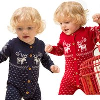 Baby christmas snow reindeer knitted sweater romper fall winter infant boys girls long sleeve jumpsuits newborn kids xmas party clothing Q2893