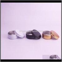 Boîtes d'emballage 50ml 50g Pors en aluminium Echantillon cosmétique Tin de métal Vide Conteneur rond CLACK Couvercle WB2375 38R7I 3YHV9