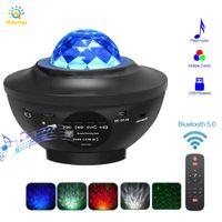 USB LED Yıldız Sahne Etkisi Müzik Uygulaması Kontrolü Yıldızlı Su Dalga Gece Işıkları Ses Aktive Projektör Işık Dekor için