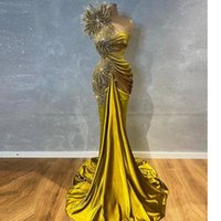 2022 Arabic Style Glitter Beaded Olive Satin Prom Party Dresses For Black Girl Sexy One Shoulder Plus Size Formal Evening Occasion Gowns Vestidos De Novia