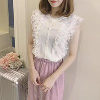 Women's Blouses & Shirts Camisas De Mujer 2021 Summer Knitted Shirt Button Tops Women Blouse Lace Patchwork Sleeveless Womens Thin Clothes 1