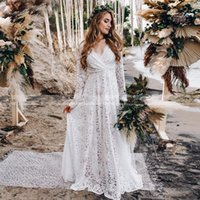 Sexy Backless Bohemian Beach Wedding Gowns With Long Sleeves Deep V Neck Plus Size Full Lace BOho Bridal Party Dresses