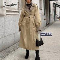 Simplee Caval Light Tan осень осень женское пальто с раскол Соединение Элегантное пальто с длинным рукавом Длиды длинного пальто с поясом Windbreaker H3CW #