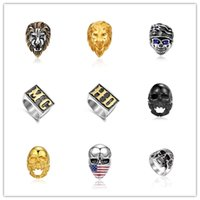 Mixed Order Top Quality 316L Titanium Skull Ring Punk Rock Men's Stainless Steel Jewelry 8-12# Low Price Wholesale Free