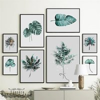 Paintings Nordic Plants Leaves Canvas Natural Green Ginkgo Monstera Palm Banana Leaf Poster Wall Art Prints Pictures Gift