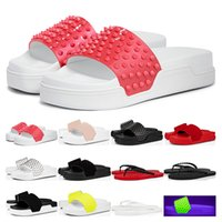 fashion Luxurys designer red bottoms Slippers Pool Fun mens ...