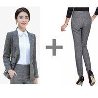 Women's Suits & Blazers Formal Pants Women Blazer Set Office Lady Business Work Jacket Coat High Waist Female Black Trousers Plus Size 2021