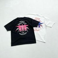 캔 2 착용 21SS 탑 티셔츠 고품질 코튼 특대 여름 옷 티 빈티지 티셔츠 남성 여성 진짜 사진
