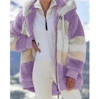 Women's Jackets Womens Winter Faux Fur Warm Hoodies Jacket Contrast Color Striped Fluffy Plush Coat Front Zip Up Oversized Loose Sweatshirt