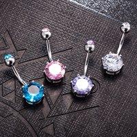 Damesmode Navel Belly Button Ring Chirurgisch Staal Helder Crystal Gem Bal Piercing Bar Ronde Ringen Sexy Sieraden