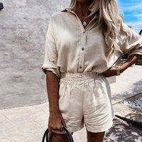 Women's Tracksuits Female linen set for summer, shorts, collar turned down, long sleeve shirt, and casual two-piece set, loose clothing, 1N87