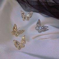 Xunbei 925 Sterling Sier Boucles d'oreilles haut de gamme Super Flash Tempéramment Papillon Boucles d'oreilles pour femmes