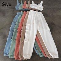 Mulheres duas peças calças giyu 2 set mulheres 2021 outono casual esporte colheita top roupas branco tracksuit mulher