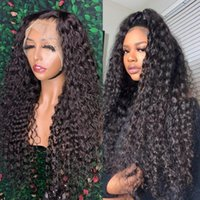 Synthetic Wigs Free Part 180% Density Pre Plucked Natural Black Long Deep Wave Lace Front Wig For Women With Baby Hair Kinky Curly