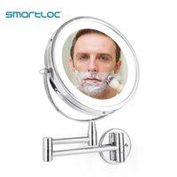 smartloc extensible LED 8 pouces 10x loupe mural de salle de bain mural miroir mural miroir maquillage maquillage maquillage cosmétique miroirs intelligents
