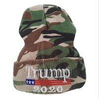 Trump 2020Trump Camuflage Wool Elección americana bordado gorra de punto, labs de sombrero térmico