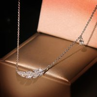 Elegant Feather Pendant Necklaces Silver Color Accessories Fashion Jewelry For Women Birthday Party Gift